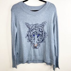 Zara Knit Tiger embroidered grey Crewneck sweater